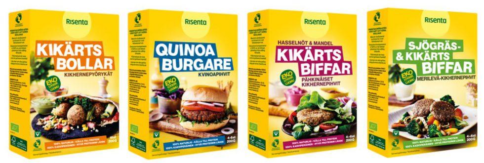Förpackningarna till de fyra olika Vegorätt-produkterna bredvid varandra Gula rektangulära med bild på respektive maträtt på