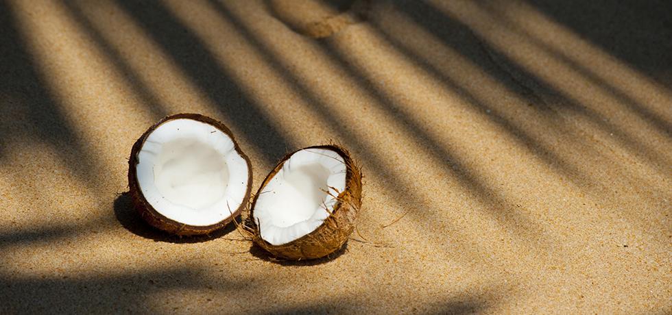 Halverad kokosnöt på en strand
