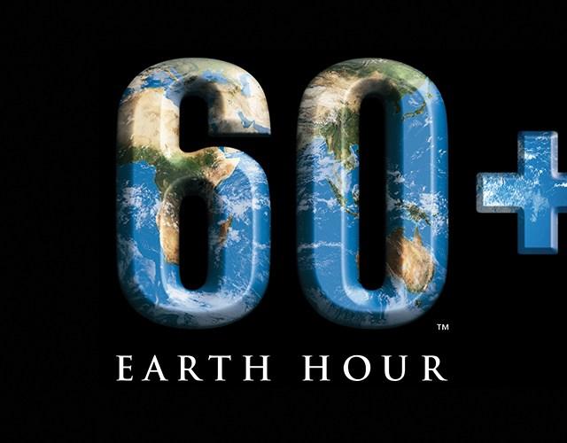 Loggan för Earth Hour, 60+ mot svart bakgrund