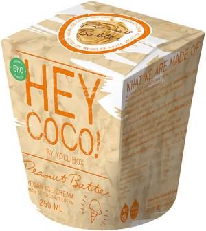 Pappförpackning med texten HEY COCO! i orange