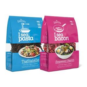 Turkos och rosa förpackning med I sea pasta och bacon