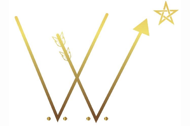 Två V i guldfärg, en guldstjärna uppe till höger