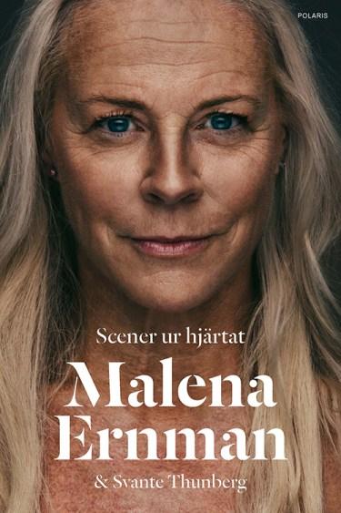 Omslag till boken Scener ur hjärtat, bild på en kvinna med långt ljust hår