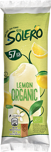 En förpackning i gula och gröna färger med bild på gul glass och texten SOLERO