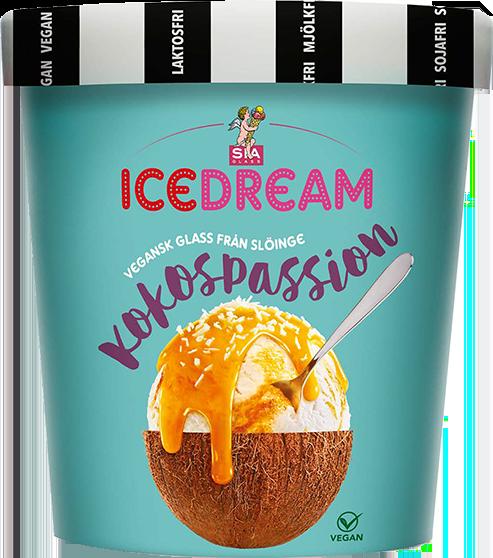 Turkos cylinderformad förpackning med texten ICEDREAM Kokospassion