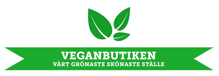 Tre gröna illustrerade blad, under texten VEGANBTUKEN VÅRT SKÖNASTE GRÖNASTE STÄLLE