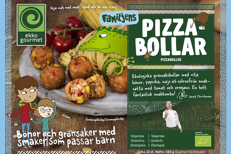 Förpackning med bild på grönsaksbollar på en tallrik och texten PIZZABOLLAR