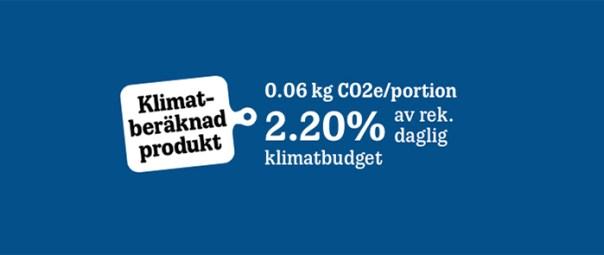 Text med klimatberäkning mot blå bakgrund