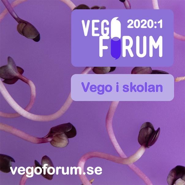 Texten Vegoforum och Vego i skolan mot lila bakgrund