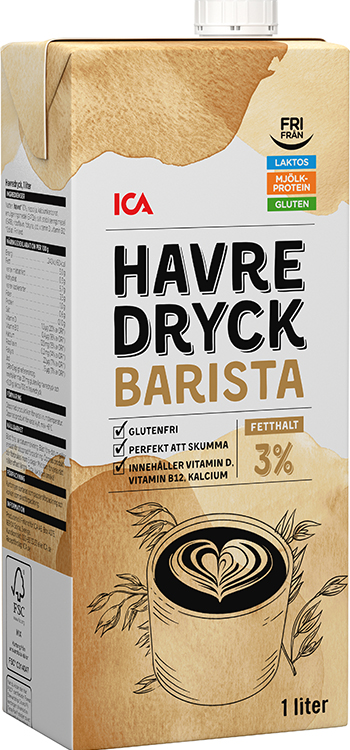En förpackning Ica Havredryck Barista