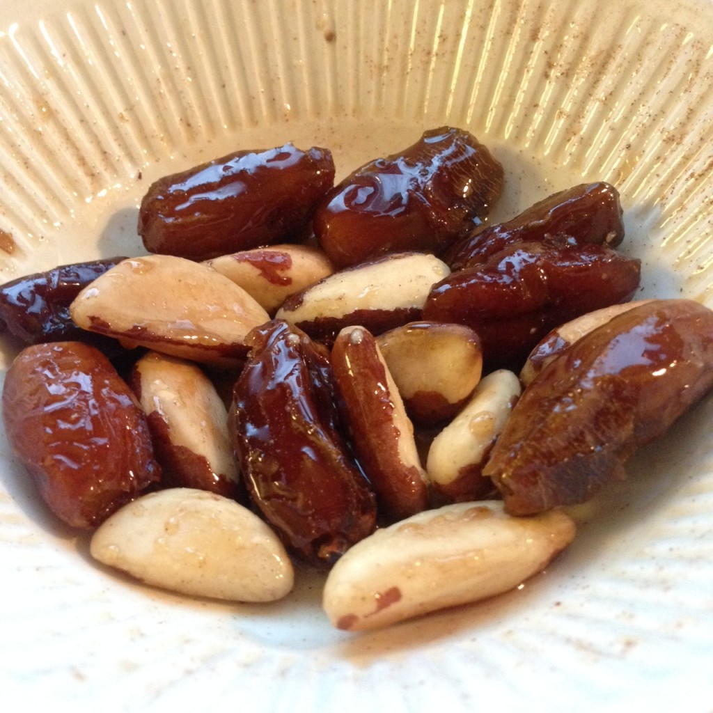 Dates and Brazil Nuts with Maplw Syrup, Cinnamon, and Himalayan Salt