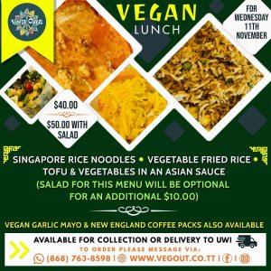 Wednesday 11th November Vegan Lunch