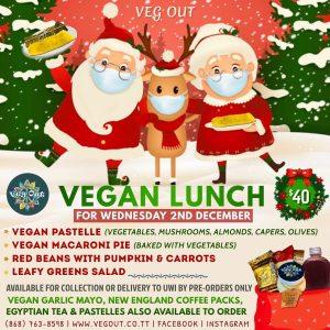 Wednesday 2nd December Vegan Lunch