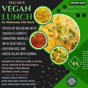 Wednesday 24th March Vegan Lunch