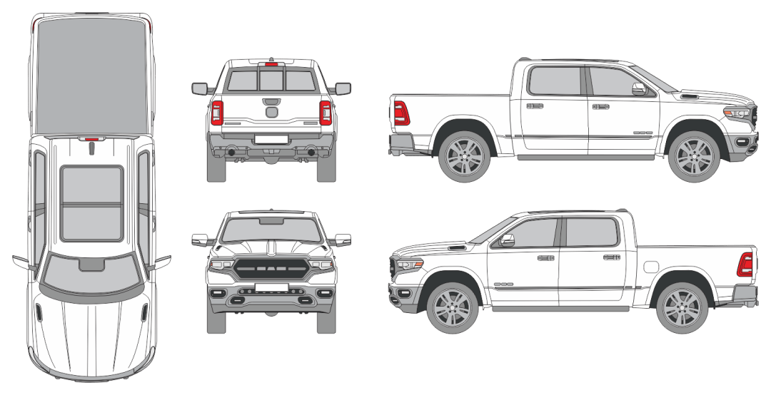 Dodge RAM 1500 2018 Vehicle Template