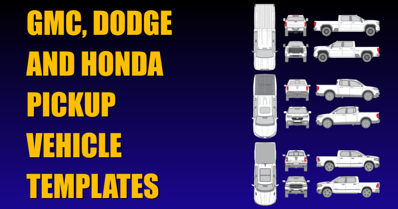 New Vehicle Templates for GMC, Dodge and Honda Pickups