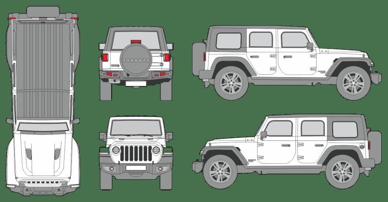 Jeep Wrangler 2019 4-Door Vehicle Template