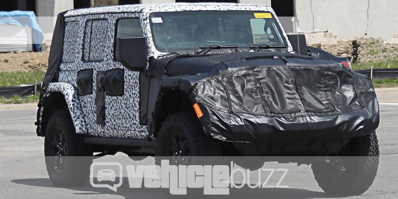 Spy Photo of underwraps 2018 Jeep Wrangler on the road.