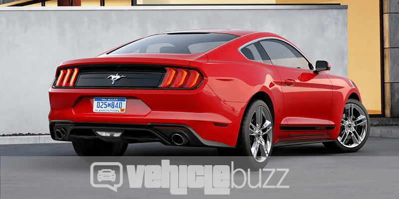 Quarter turn rear view of 2018 Ford Mustang - bright red.