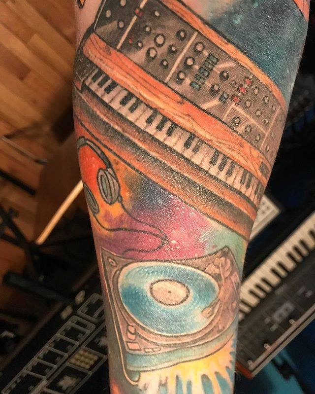 TEEEL's Jim Smith likes synths a lot. So much so, that's he's got some sweet homage tats.