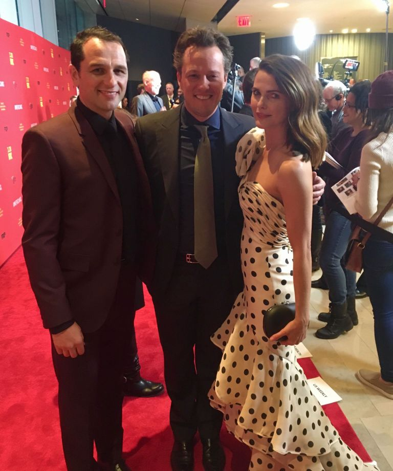 'The Americans' actors Matthew Rhys (left) and Keri Russell (right) pose with composer Nathan Barr at the Season 6 premiere. Photo by Impact24 PR.