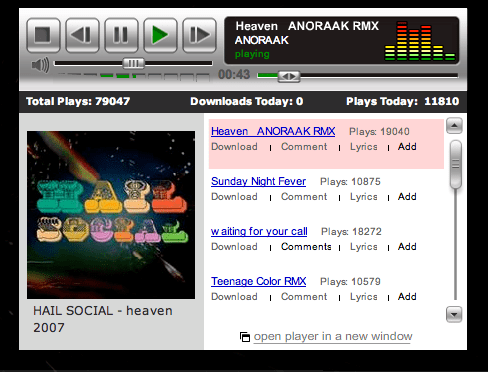 A screenshot of Anoraak's MySpace from March 2008.