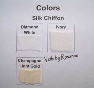 Diamond white, ivory or champagne silk chiffon veil