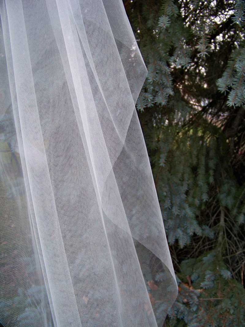 Cut Edge Illusion 1 Tier Cathedral Veil Wedding Veil Long
