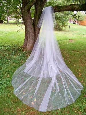 Extra long cathedral veil with 3 layers