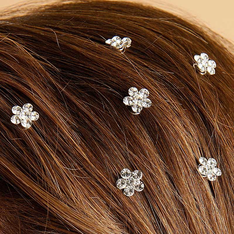 Prom Wedding Rhinestone Flower Hair Sprials Set 12 Hair