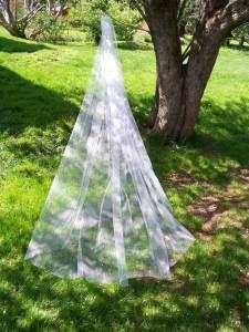 1 tier long veil at full width