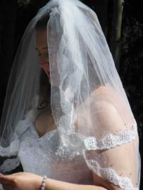 Lace waterfall veil