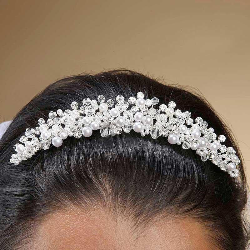 Wedding Tiara Hair Comb Diamond White Pearls Swarovski