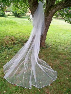 3 tier cord edge wedding veil