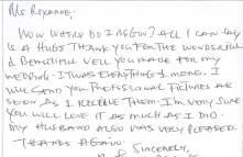 thank you note written by veil customer