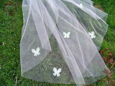 Wedding veil with green butterflies