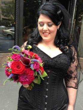 black bridal veil with v-neck dress