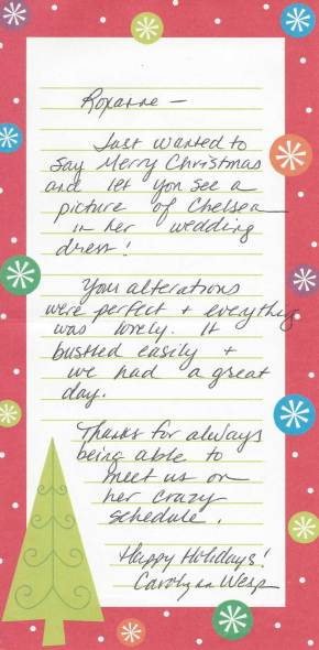 Wedding Dress Alterations Thank You Note