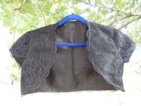 Front view of black lace sparkle bolero
