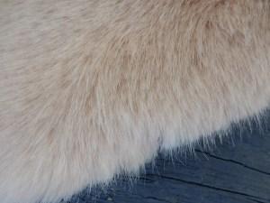 champagne blush fur wrap close up