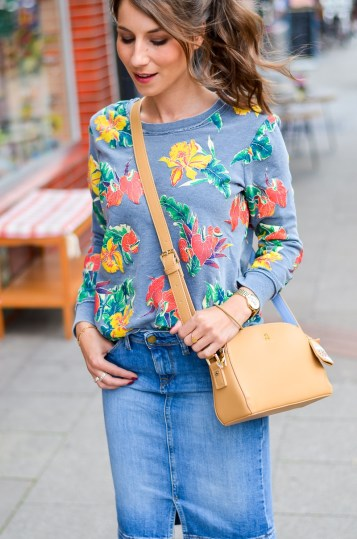 Fashion , Blog , deutsch, Jeansrock , midi , denim, skirt , Sweatshirt , print , billig bi , Sandalen, Wedges , kombinieren , hohe , bequeme , Schuhe , Sommer , Trend , 2016 , Paul and joe sister , tasche , outfit, look , 14