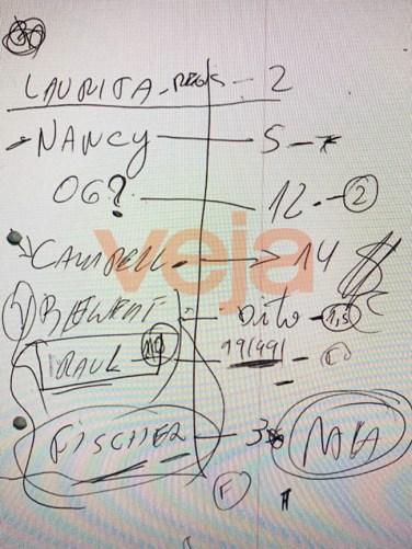 O bilhete apreendido durante operação que prendeu o consultor Flávio Lúcio Magalhães -