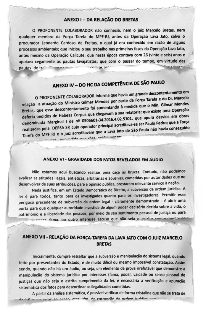 ACUSAÇÕES -A delação tem oito anexos que tratam de manobras, combinações, estratégias, acordos e negociações ilegais que teriam sido feitas pelo juiz e pelos procuradores da força-tarefa da Lava-Jato no Rio de Janeiro -