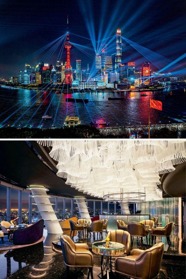 PARA O ALTO E AVANTE - Shangai Tower: a maior torre da China e seu lounge (abaixo): centro global -