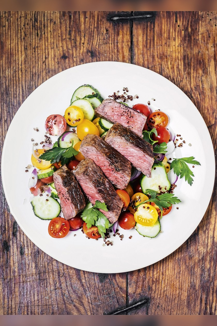 MENU - Lunch suggestion: lots of beef and vegetable protein -