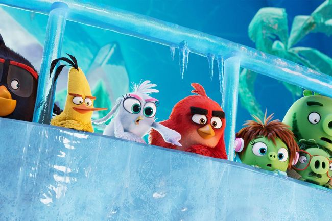 The image shows a row of birds from the angry birds animation