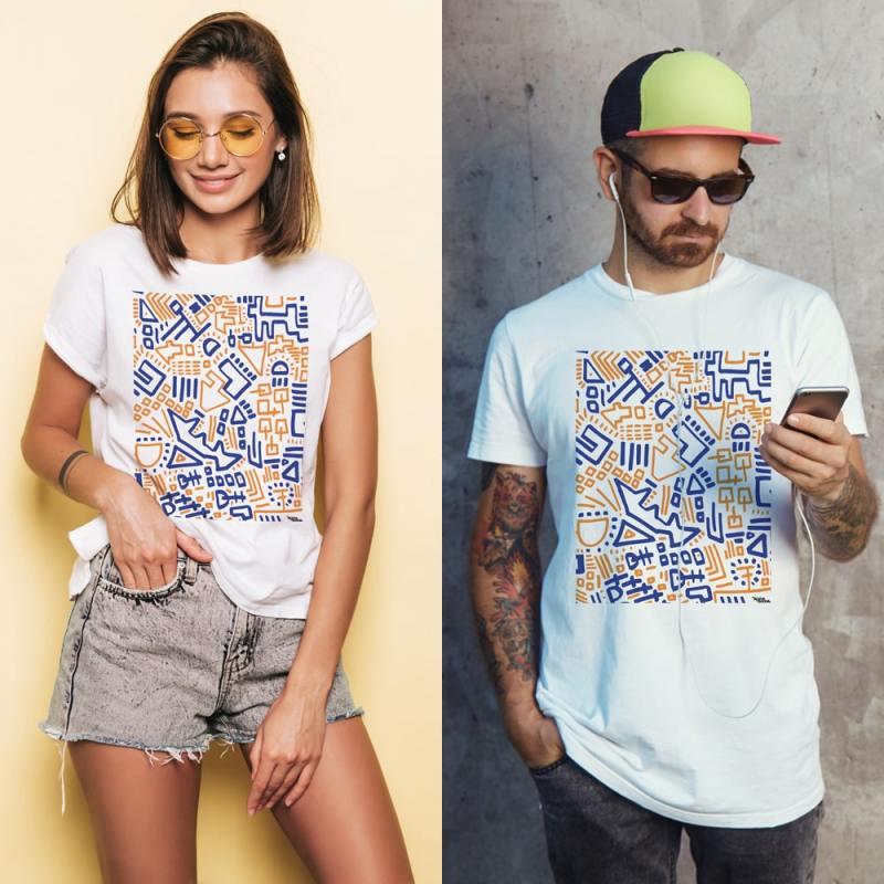 Unisex Vejsideboden mønster t-shirt