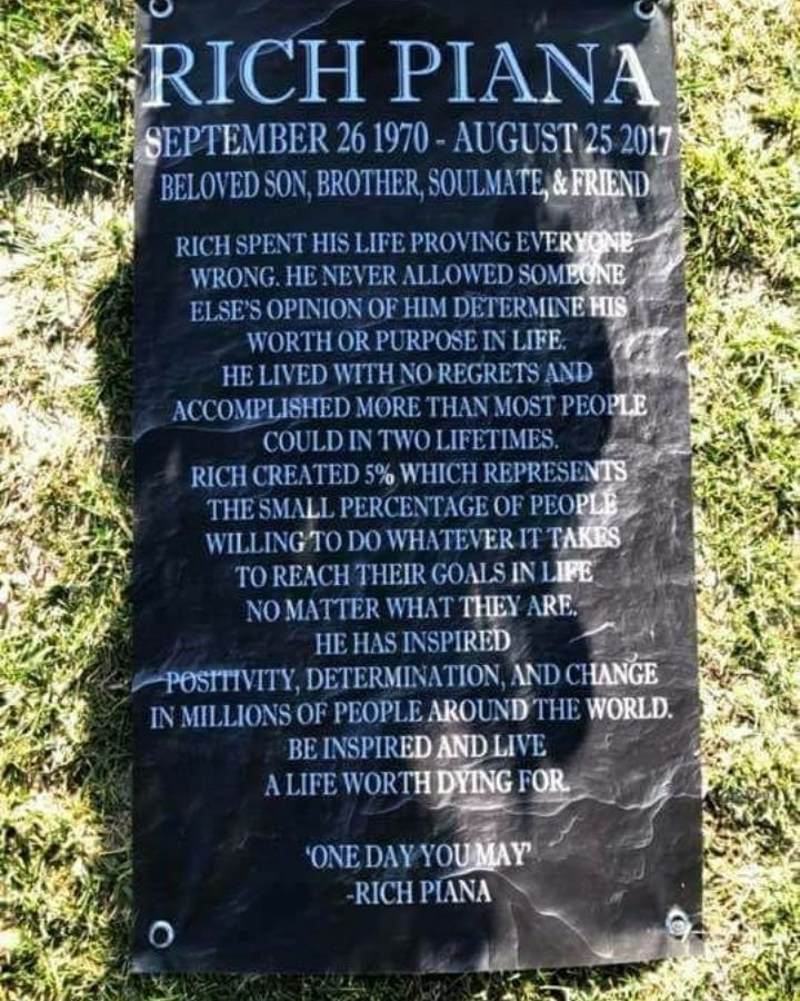 The Rich Piana Funeral and his beautiful gravestone representing the way he inspired the world.