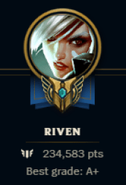 I know the best riven skins, 250k mastery :(