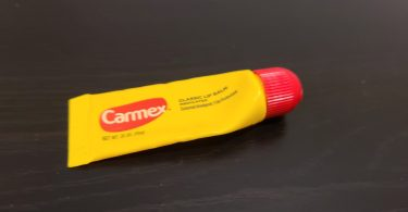 Carmex Lip balm Review, the front of the carmex tube.